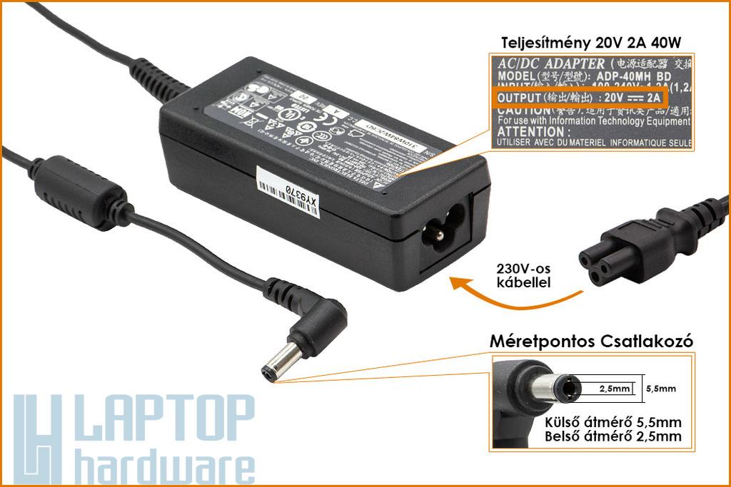 MSI 20V 2A 40W gyári új netbook töltő (ADP-40MH BD)
