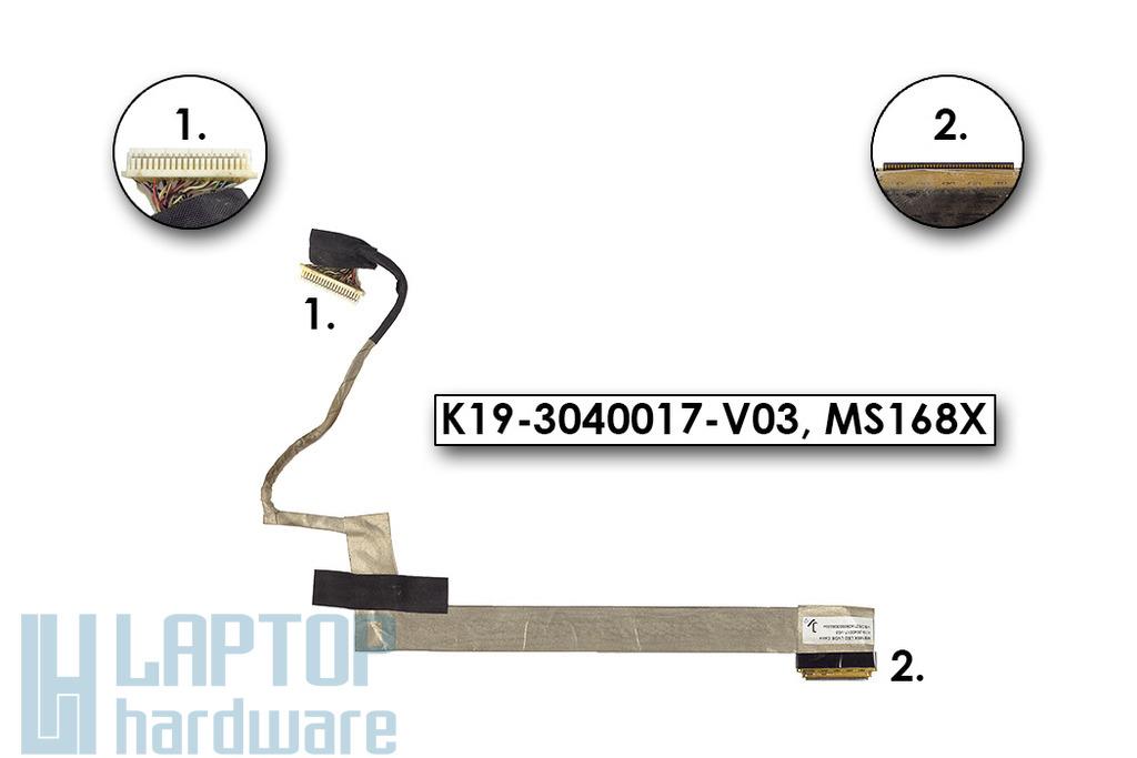 MSI  CR500X laptophoz használt kijelző kábel, K19-3040017-V03, MS168X