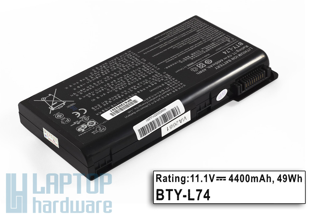 MSI CR600, CR610, CX600 helyettesítő új 6 cellás laptop akku/akkumulátor (BTY-L74, BTY-L75)