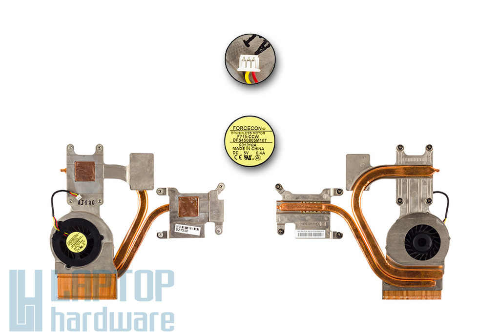 MSI GX600, MS-163A használt komplett laptop hűtés (E32-0900502-F05)