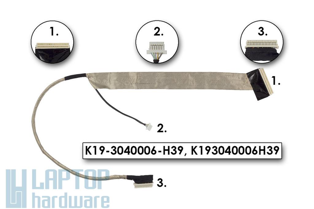 MSI GX620, GX630, GX630X gyári új LCD kijelző kábel, K19-3040006-H39