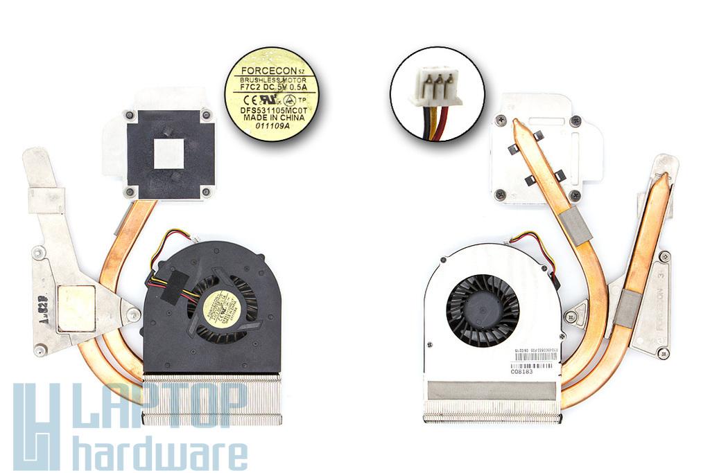 MSI GX620 használt laptop komplett hűtés (DFS531105MC0T, F7C2, E32-0900532-F05)