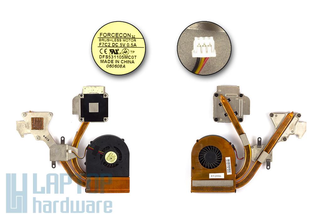 MSI GX630, GX630x használt komplett laptop hűtő ventilátor egység (E32-1300111-F05,DFS531105MC0T,F7C2)