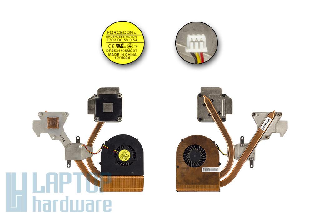 MSI GX633 használt komplett laptop hűtő ventilátor egység, DFS531105MC0T, F7C2