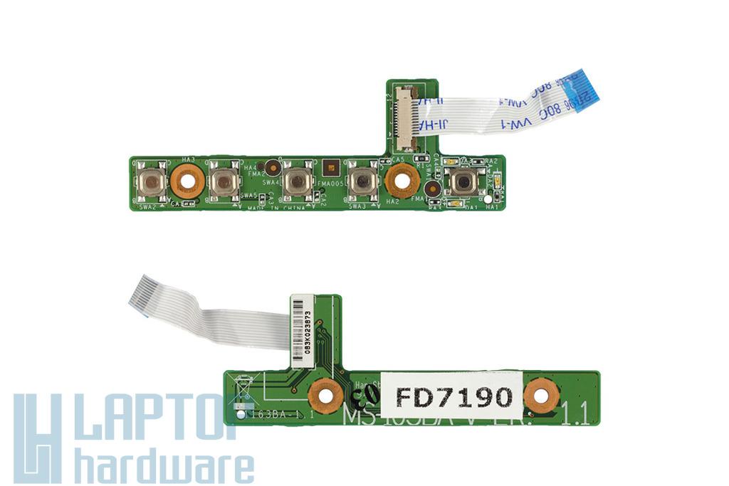 MSI VR610, MS-163B laptophoz használt bekapcsoló panel és kábel (MS-163BA)
