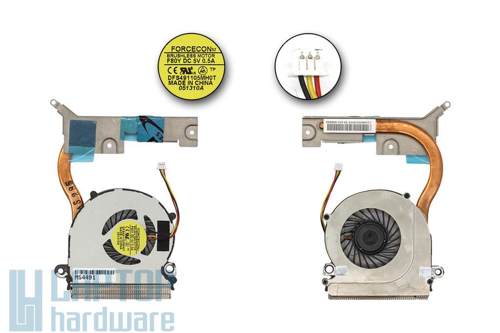 MSI Wind U200, 210, 230, 250 gyári új komplett laptop hűtő ventilátor egység, E32-0800310-F05, DFS491105MH0T