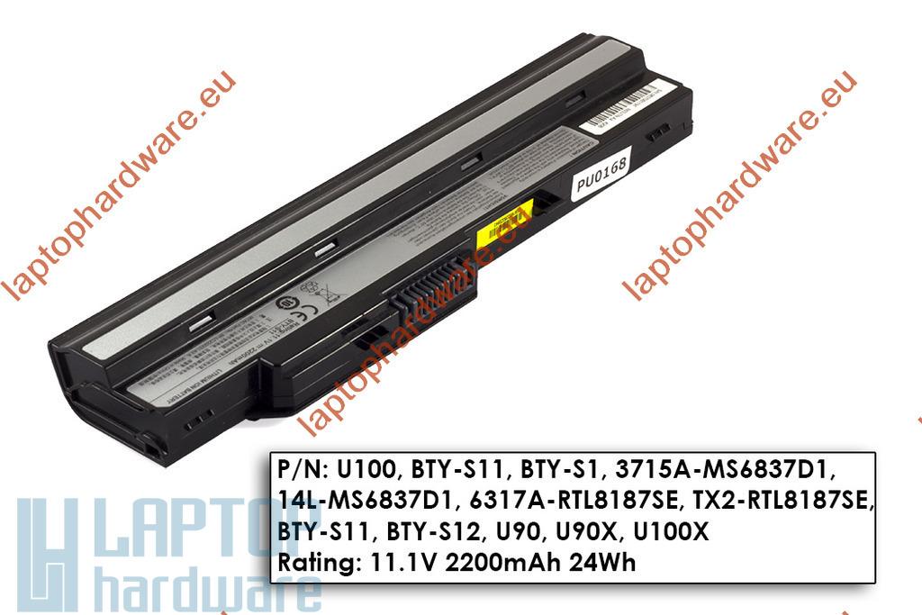 MSI Wind U90, U100, U130 használt 85%-os 6 cellás fekete laptop akku/akkumulátor (BTY-S12)