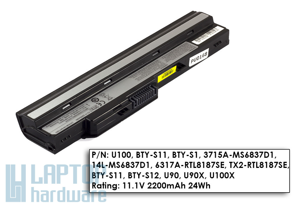 MSI Wind U90, U100, U130 használt 75%-os 3 cellás fekete laptop akku/akkumulátor (BTY-S11)