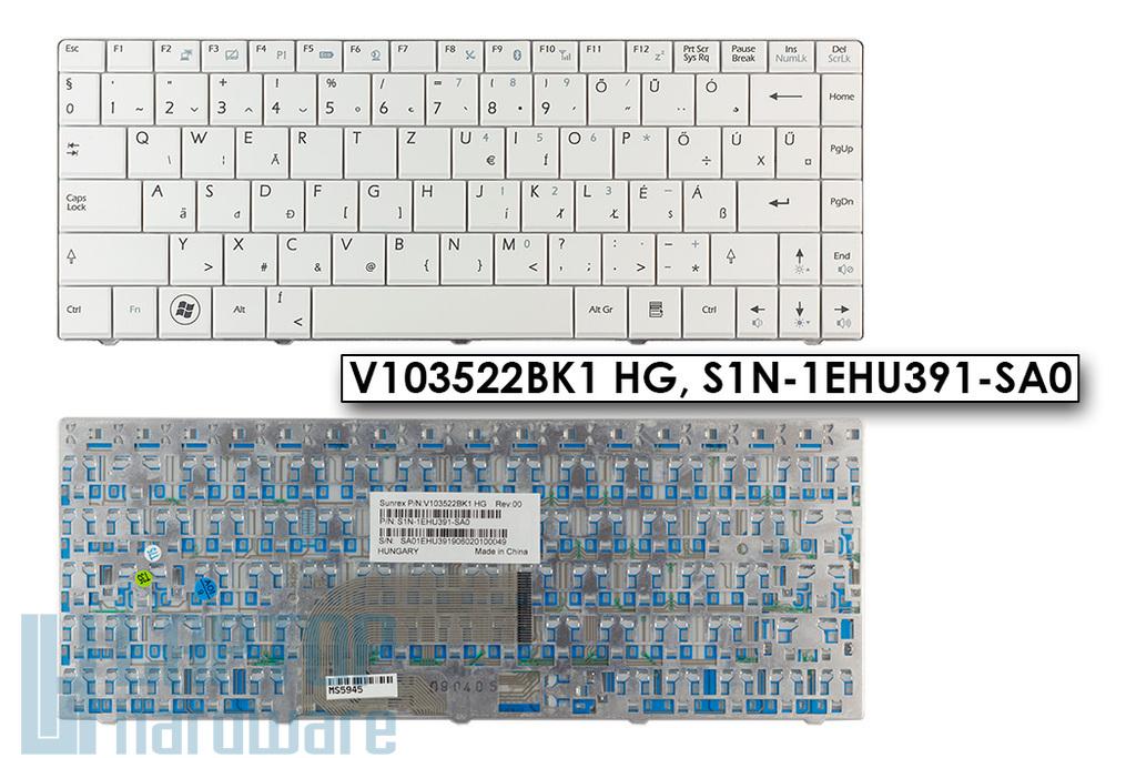 MSI X300, X410 gyári új magyar fehér laptop billentyűzet (V103522BK1 HG, S1N-1EHU391-SA0)