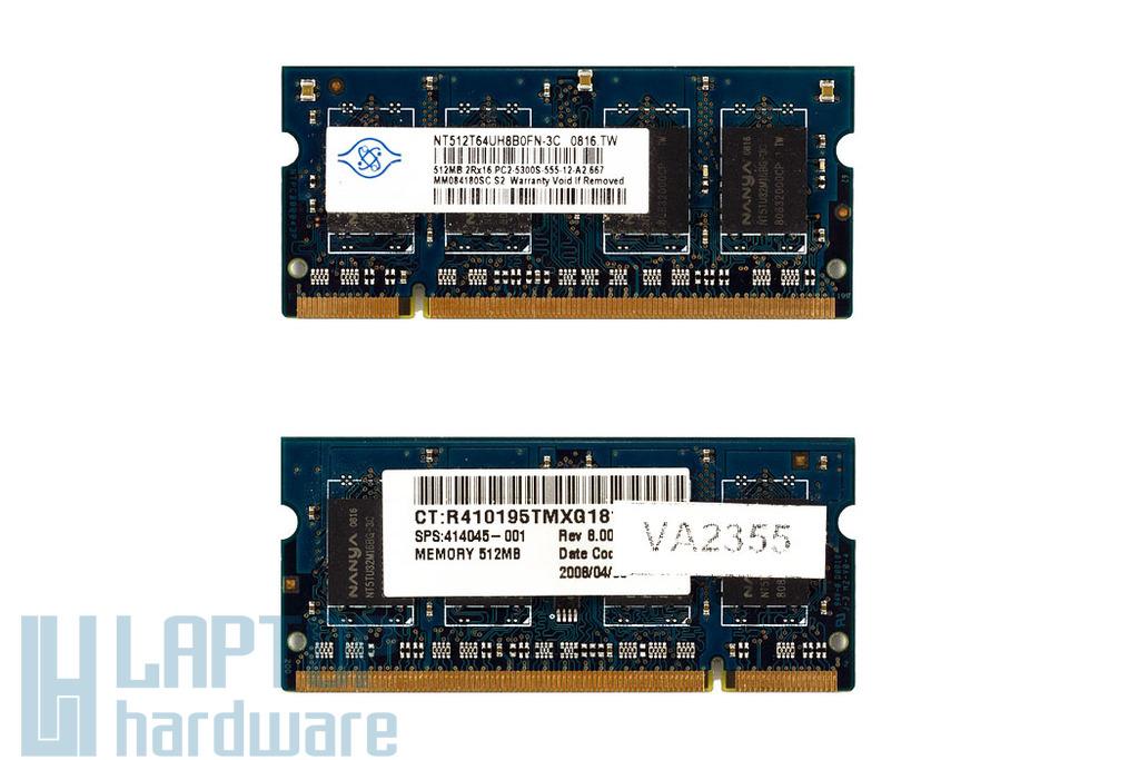Nanya 512MB DDR2 667MHz használt memória HP laptopokhoz