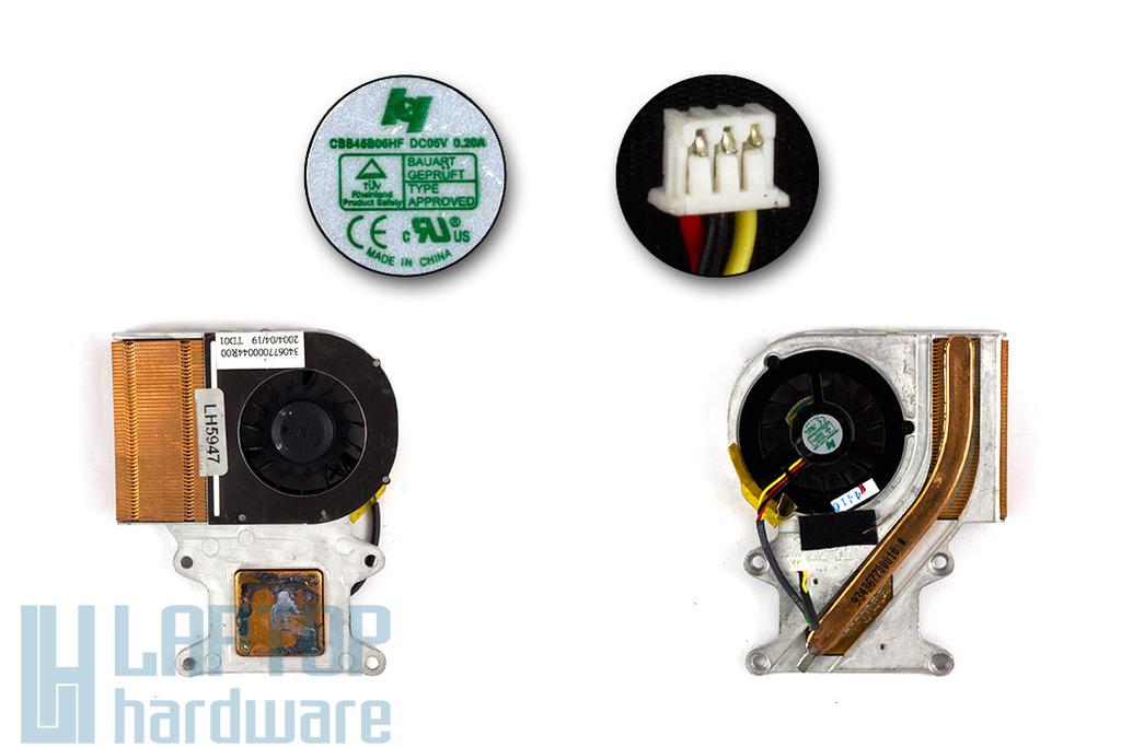 Packard Bell EasyNote E4, E5318, NEC Versa E680, M500 használt komplett laptop hűtő ventilátor (CBB45B05HF)