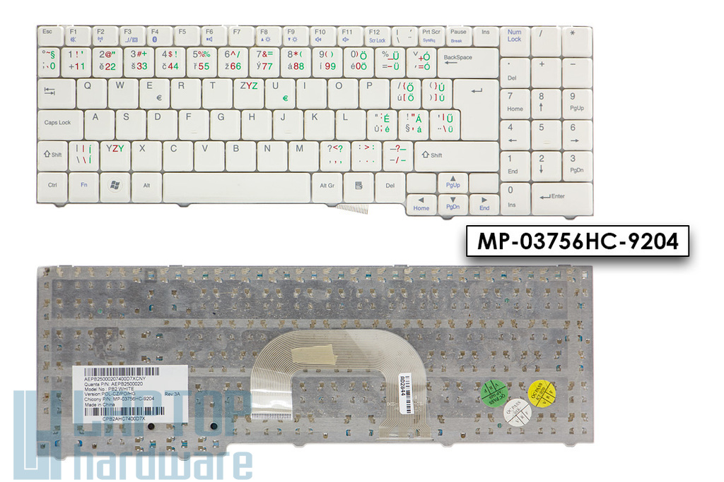 Packard Bell EasyNote MB65, MB66, MB68, Ares GP, GM használt közép-európai (magyar, cseh, lengyel) fehér laptop billentyűzet (AEPB2500020)