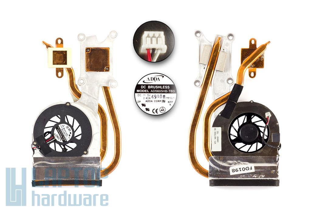 Packard Bell EasyNote SW51 laptophoz használt komplett hűtő ventilátor egység (340811700002R00)