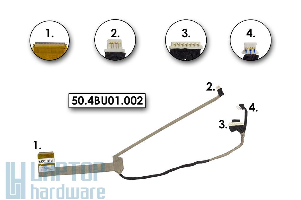 Packard Bell EasyNote TJ61, TJ64, TJ65 laptophoz használt kijelző kábel, 50.4BU01.002