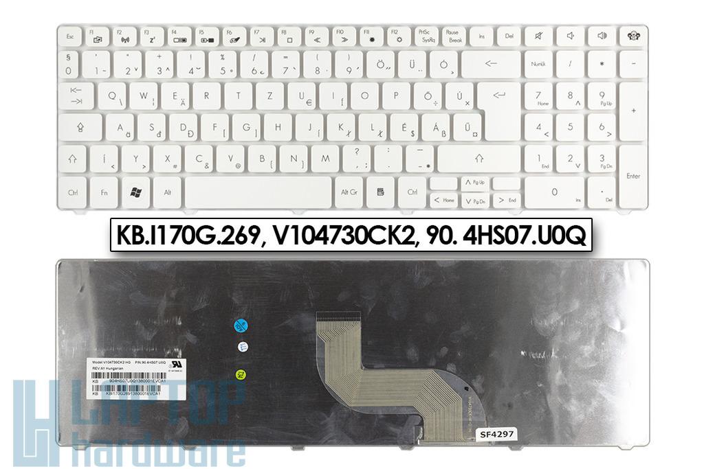 Packard Bell EasyNote TK81, TM81 gyári új magyar fehér laptop billentyűzet (KB.I170G.269)