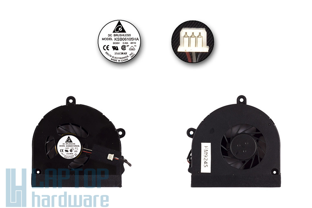 Packard Bell F4081-SB-213HG, PEW96, TK85 gyári új laptop hűtő ventilátor (KSB06105HA-9K1N)