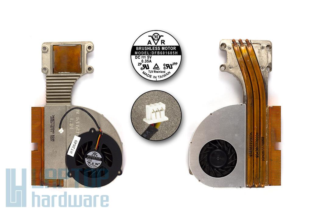 Packard Bell MIT-GHA20, NEC Versa M400 használt komplett laptop hűtő ventilátor egység (DFB601605H, MPT GHARIAL-N)