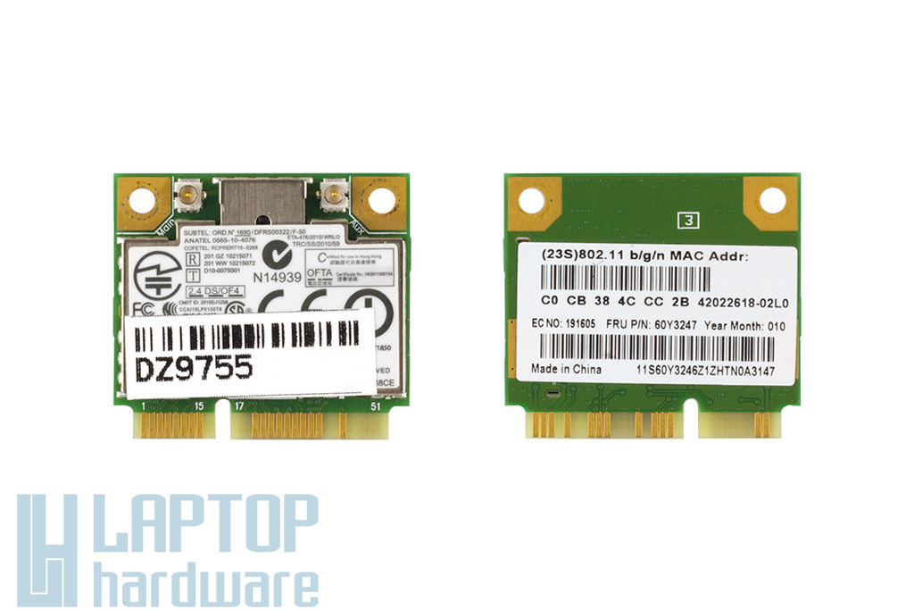 Realtek RTL8188CE használt Mini PCI-e (half) WiFi kártya Lenovo laptophoz (FRU 60Y3247)