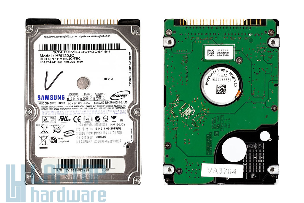 120GB 5400RPM 2,5'' IDE (PATA, Ultra ATA/100) használt laptop winchester, HDD
