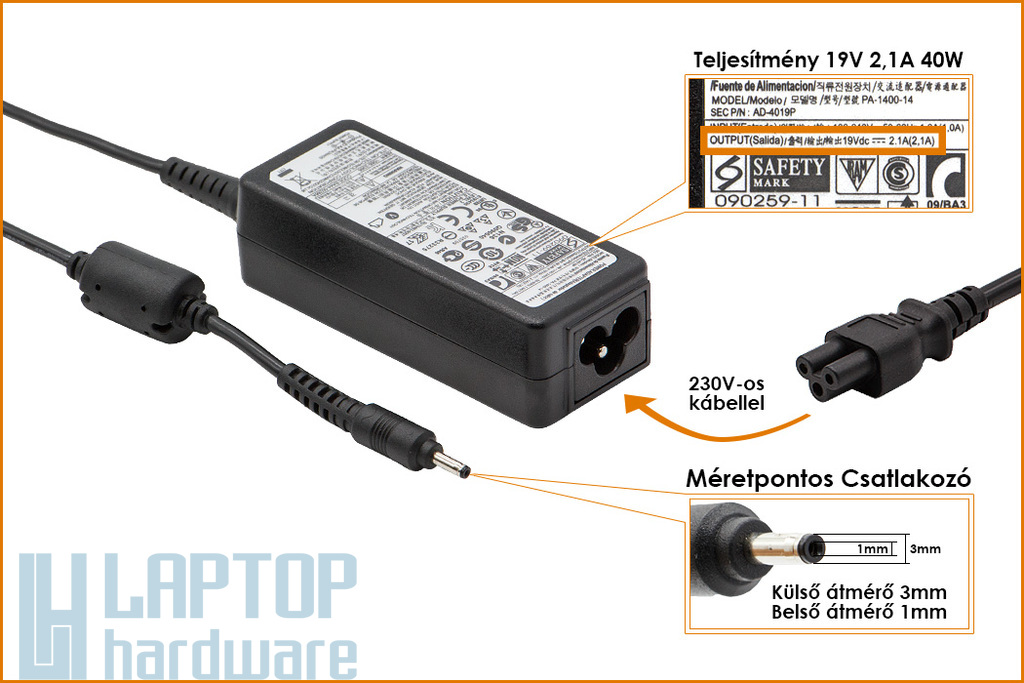 Samsung 19V 2.1A 40W UltraBook gyári új laptop töltő (AD-4019A, AD-4019P)