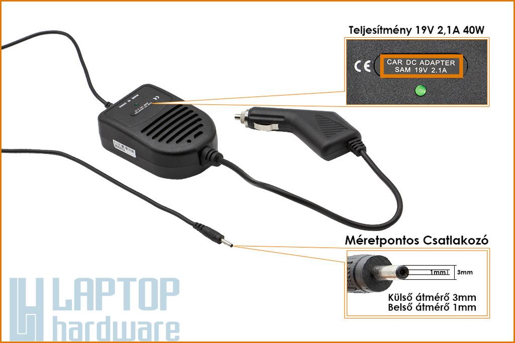 Samsung 19V 2.1A 40W UltraBook helyettesítő új autós laptop töltő (ST-C-048-19000210BD)