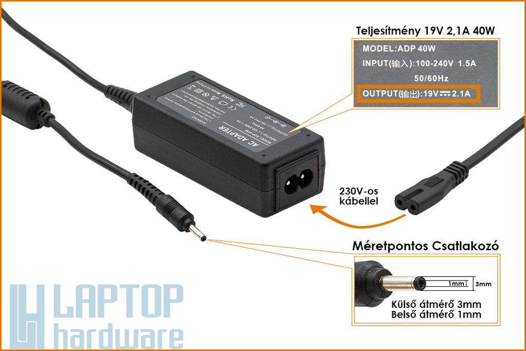 Samsung 19V 2.1A 40W UltraBook helyettesítő új laptop töltő (AD-4019A, AD-4019P)
