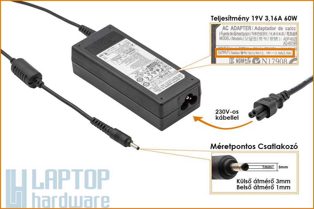 Samsung 19V 3.16A 60W 3mm x 1mm gyári új laptop töltő (AD-6019P ADP-6019R)