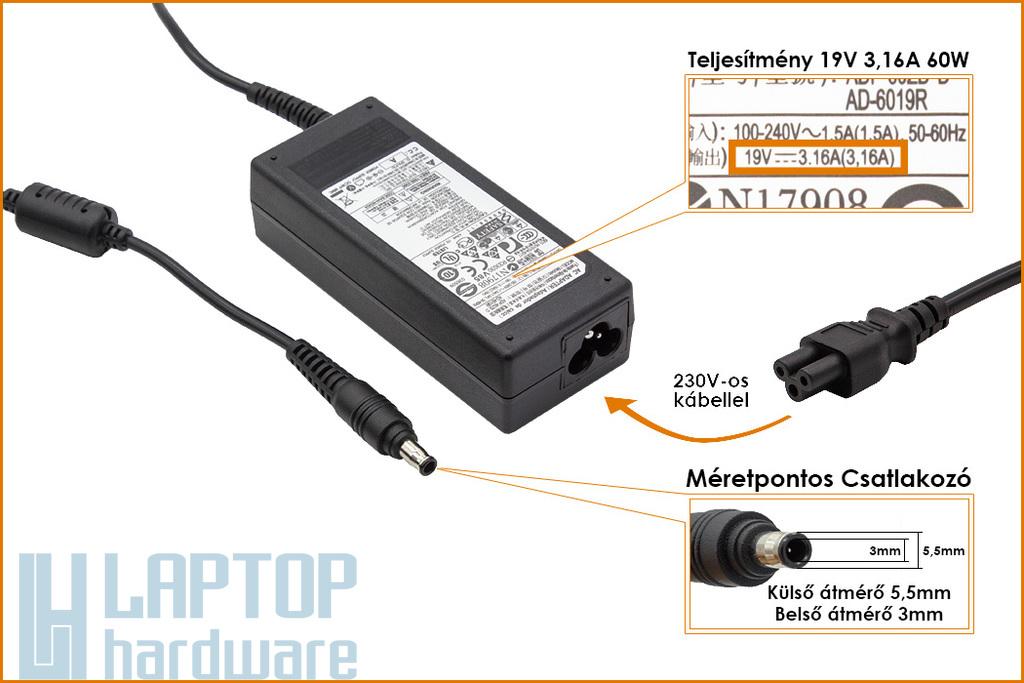 Samsung 19V 3.16A 60W (center pin) gyári új laptop töltő (AD-6019S, AD-6019R)