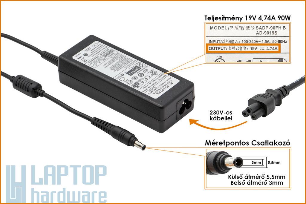 Samsung 19V 4.74A 90W (center pin) gyári új laptop töltő (SADP-90FH B, AD9019S)