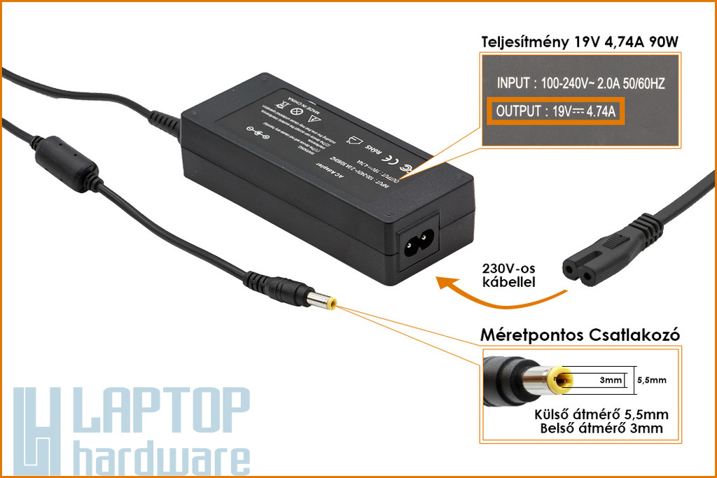 Samsung 19V 4.74A 90W (center pin) helyettesítő új laptop töltő (SADP-90FH B D9019S)