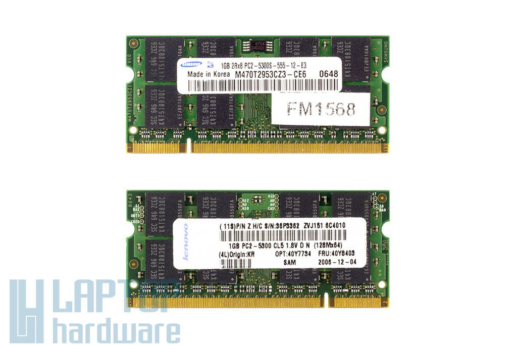 Samsung 1GB DDR2 667MHz gyári új laptop memória Lenovo laptopokhoz
