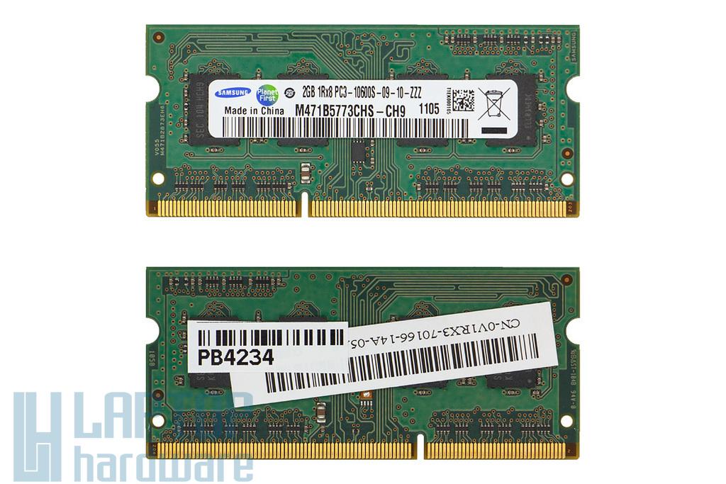 Samsung 2GB DDR3 1333MHz használt memória Dell laptopokhoz (DP/n 0V1RX3)