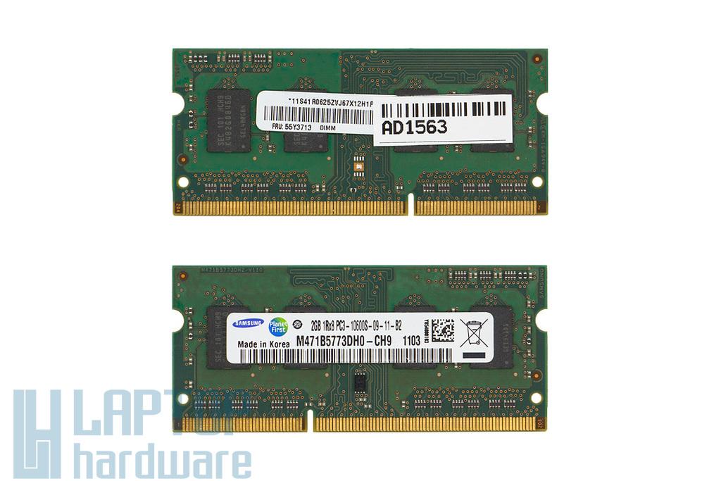 Samsung 2GB DDR3 1333MHz használt memória Lenovo laptopokhoz (FRU 55Y3713,  55Y3716)