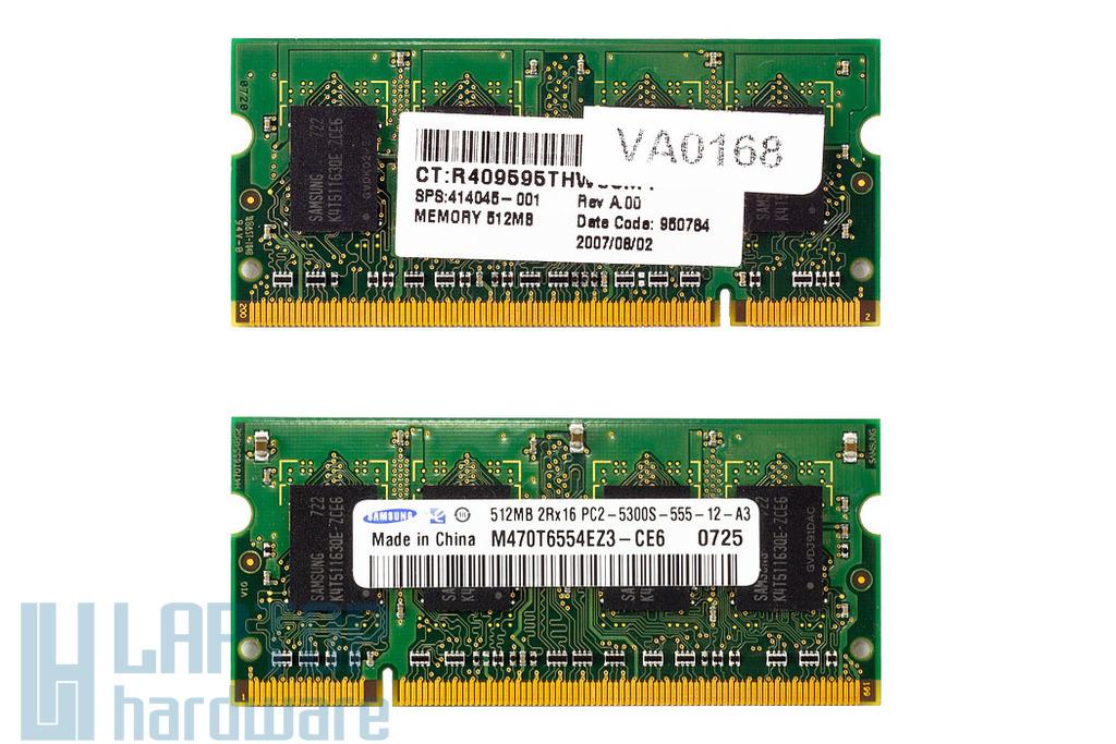 Samsung 512MB DDR2 667MHz használt memória HP laptopokhoz