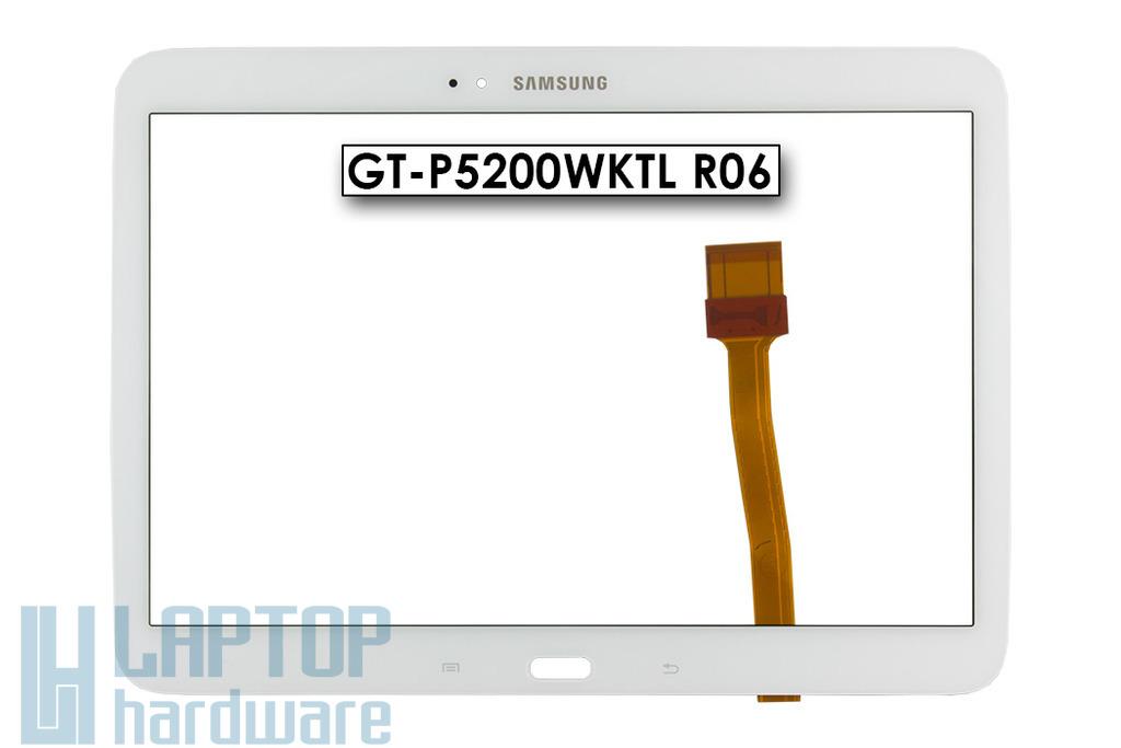 Érintő panel, touchscreen (fehér, érték csökkentett (hajszál karc)) Samsung Galaxy Tab 3 10.1 (GT-P5200) tablethez (GT-P5200WKTL R06)