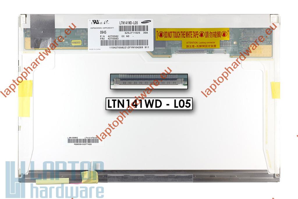Samsung LTN141WD-L05 WXGA+ 1440*900 CCFL használt matt laptop kijelző