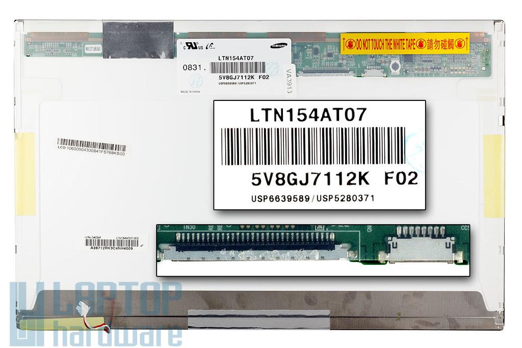Samsung LTN154AT07 15.4 inch WXGA CCFL használt fényes laptop kijelző