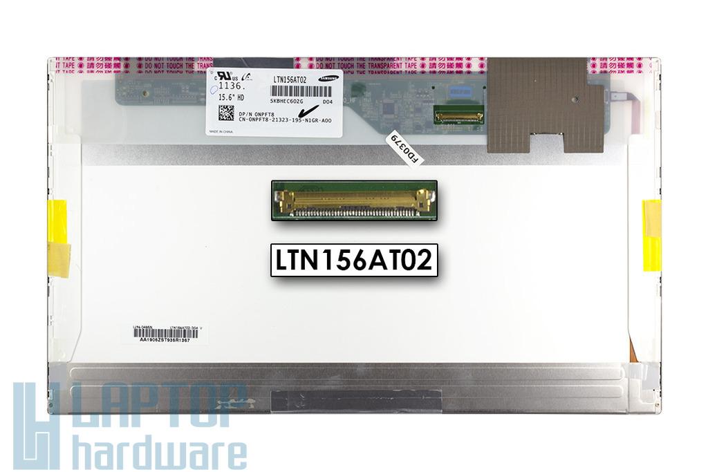 Samsung LTN156AT02-D04 használt 15,6 inch WXGA 1366x768 HD LED fényes laptop kijelző (DPN 0NPFT8)