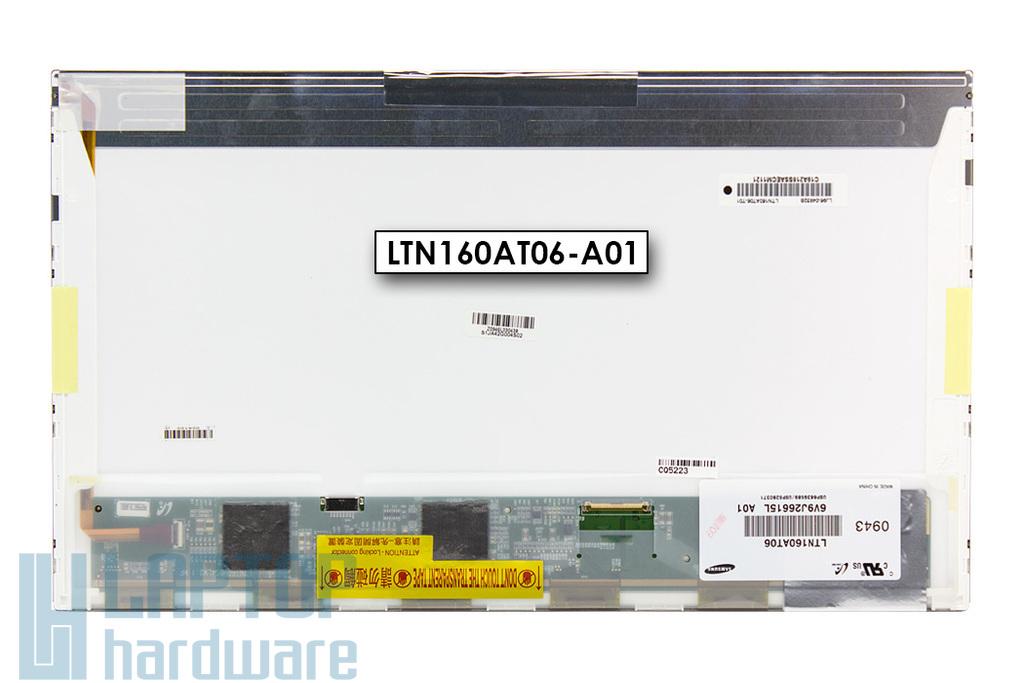 Samsung LTN160AT06 használt fényes 16.0'' HD (1366x768) LED laptop kijelző (csatlakozó: 40 pin - jobb)