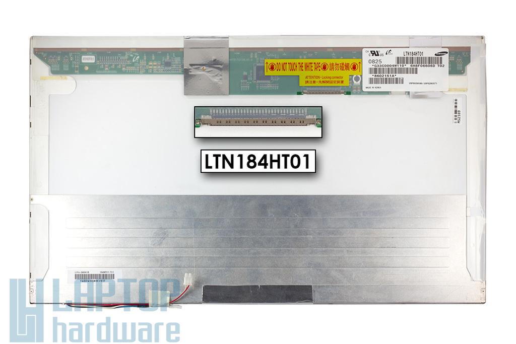 Samsung LTN184HT01-T02 gyári új matt 18.4'' Full HD (1920x1080) CCFL(-2) laptop kijelző (csatlakozó: 30 pin - jobb top)