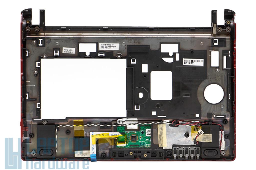 Samsung N145, N148, N150 használt fekete-piros laptop felső fedél hangszóróval és touchpaddal (BA75-2357, BA81-08418)