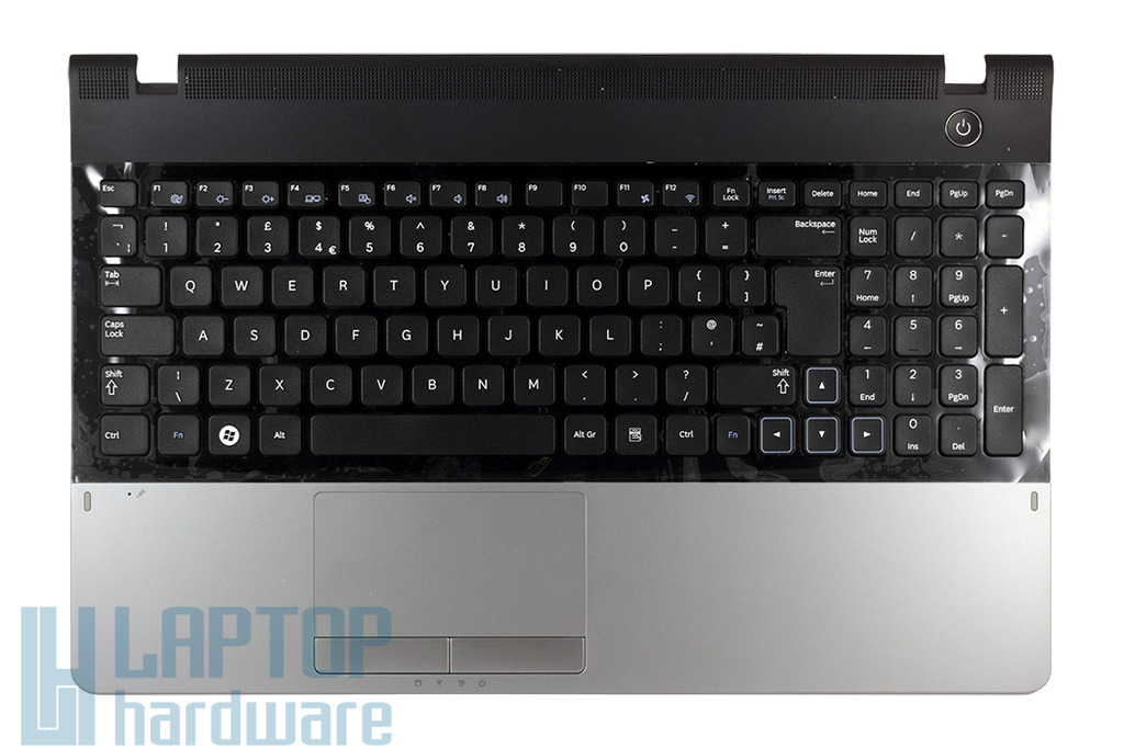 Samsung NP-300 NP300E5A gyári új UK angol laptop billentyűzet, felső fedéllel és touchpaddel (BA75-030405A)