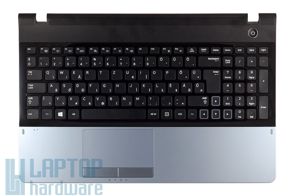 Samsung NP-300 NP300E5A, NP300E5Z gyári új magyar laptop billentyűzet, felső fedéllel és sötétszürke touchpaddel (BA75-03845Q)