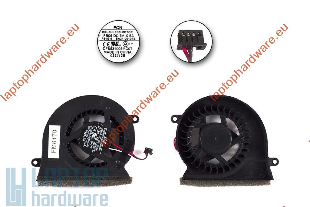 Samsung NP300V5A, NP300E5A használt laptop hűtő ventilátor (BA31-00107B, FB06, F81G-6)