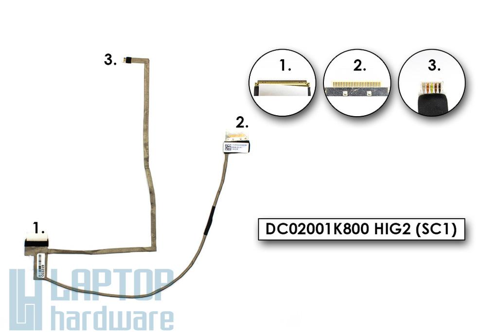 Samsung NP350V5C, NP355V5C, NP365E5C gyári új laptop LCD kijelző kábel (DC02001K800)