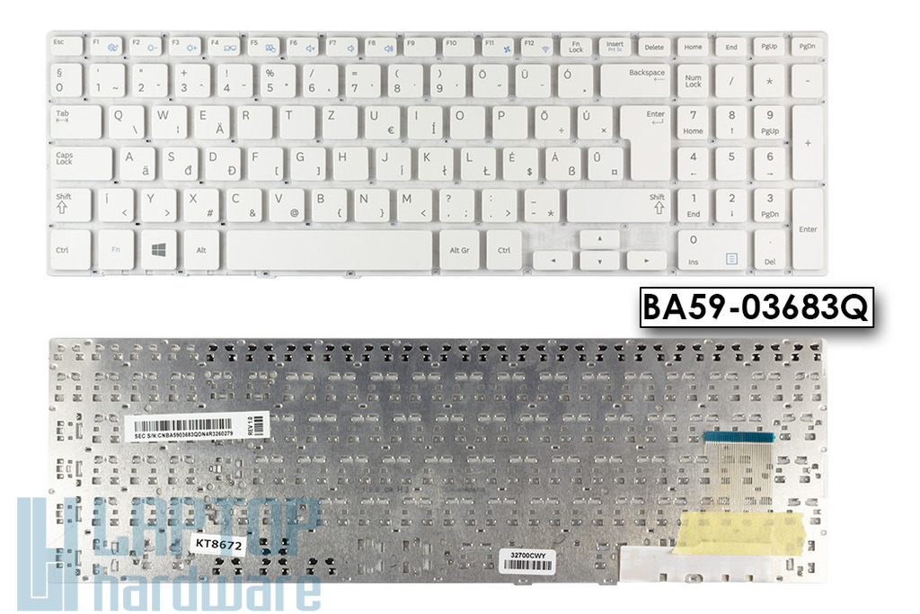 Samsung NP370R5E, NP450R5E gyári új magyar fehér laptop billentyűzet (BA59-03683Q)