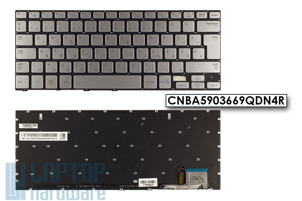 Samsung NP730U3E, NP740U3E gyári új magyar háttér-világításos szürke laptop billentyűzet