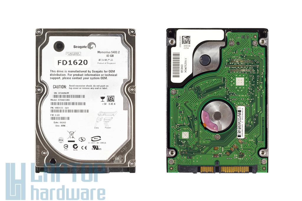 Seagate 40GB SATA használt laptop winchester (ST94813AS)
