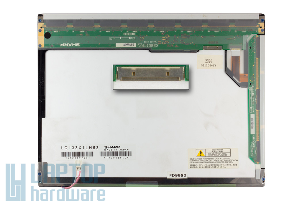 Sharp (LQ133X1LH63) 13,3 inch használt fényes laptop kijelző