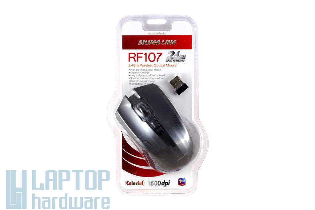 Silver Line vezeték nélküli USB fekete optikai egér, RF107